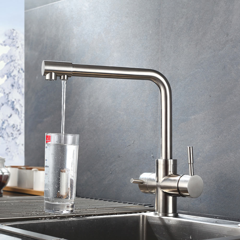 2 Holes Brushed Nickle paints SUS 304 stainless steel Double water spout with clean water Hot And Cold Double Control Faucets