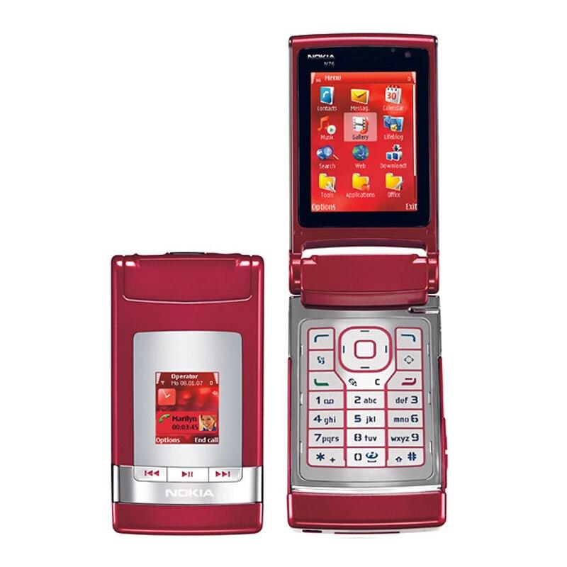 Refurbished Original Nokia N76 Mobile Phone Flip phone 2G 3G Unlocked Arabic Russian Keyboard & One year warranty feature phone