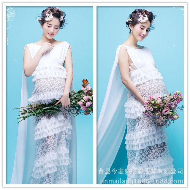 White Embroidery Hollow Maternity Photography Props Clothes Pregnancy Photo Shoot Gown Dresses For Pregnant Women Gift