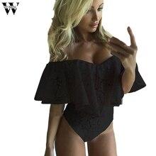 Womail bodysuit Women Summer Fashion Bardot Frill Off Shoulder Lace Bodysuit Stretch Party Leotard T