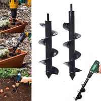 Garden Auger Spiral Drill Bit Flower Planter Bulb Shaft Drill Auger Yard Gardening Bedding Planting Hole Digger Tool