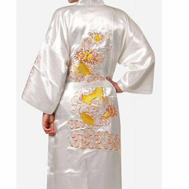 黒刺繍ドラゴン中国男性パジャマローブ夏カジュアルナイトウェア日本着物ドレスサイズ SML XL XXL XXXL