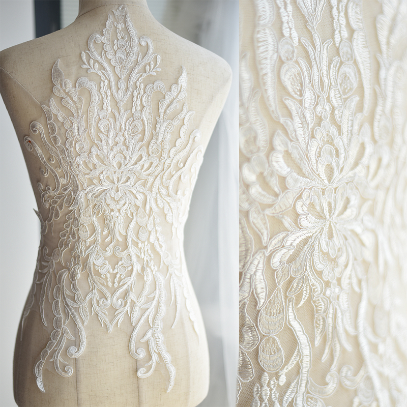 French lace fabric ivory white embroidered applique high for Wedding dress fabric store