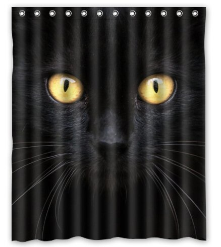 CHARMHOME Custum Printing Shower Curtain Doormat Bathroom Set The Black Cat In Dark Waterproof Polyester