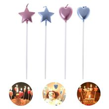 Happy Birthday Heart And Star Candles Cake Cute Candle Kids Party Decor