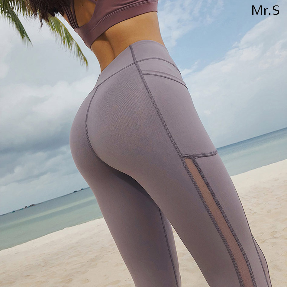 High waist women yoga pants Mesh pannel yoga legging workout gym legging tummy control sport legging side pocket fitness legging
