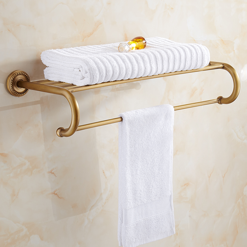 Bathroom Shelves Brass Towel Rack Antique Towel Shelf Wall Mounted Towel Holder Towel Hanger Bathroom Accessories antique fixed bath towel holder wall mounted towel rack 60 cm brass towel shelf bathroom accessories luxury brass towel rail