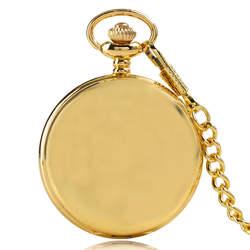 2017 Золотой Гладкий Простой Повседневное кварцевые карманные часы унисекс роскошные брелок Подвеска стимпанк часы подарок с Цепочки и