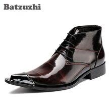 Batzuzhi Luxury Men Boots Pointed Metal Tow Lace-up Men's Ankle Boots Business Leather Boots for Men Zapatos Hombre, EU38-46 zyyzym men boots leather plus size knight boots man lace up men ankle boots brithsh motorcycle boots for men zapatos de hombre