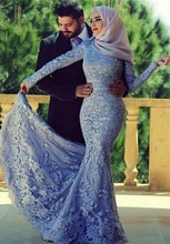 Blue Lace Mermaid Muslim Evening Prom Dresses 2017 Long Sleeve Applique Kaftan Dubai Hijab Formal Party Gowns Abendkleid EP113