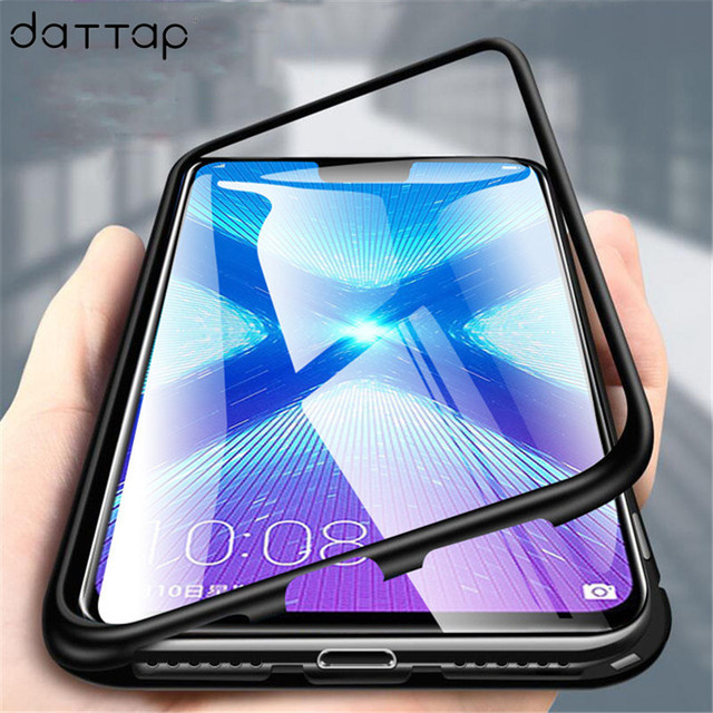 new concept 4c465 e325c Magnetic Case for Huawei Honor 8X Case Metal Tempered Glass Magnet Cases  Back Cover for Huawei Honor 8X 8 x Max Case Shell Capa