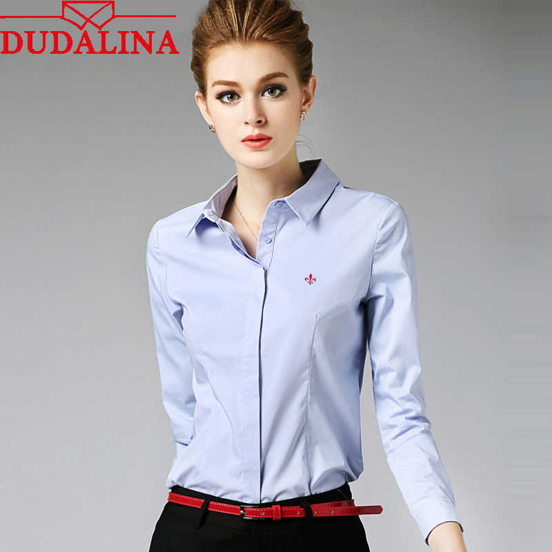 Dudalina Embroidery Female Shirts Lady 2018 Body Blusas Femininas Shirts Women Long Sleeve Tops Roupas Camisas Plus Size