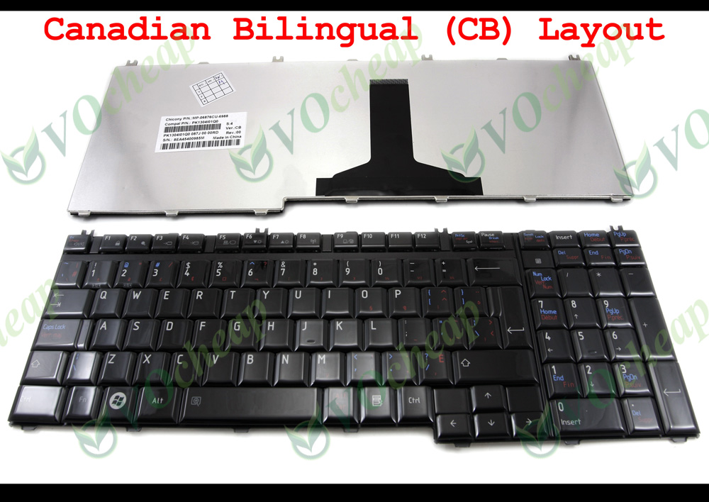 Canadian Bilingual Laptop keyboard for Toshiba Satellite A500 P205 P300 P305 P505 L350 L355 L500 L510 L515 L535 L582 G50 Glossy