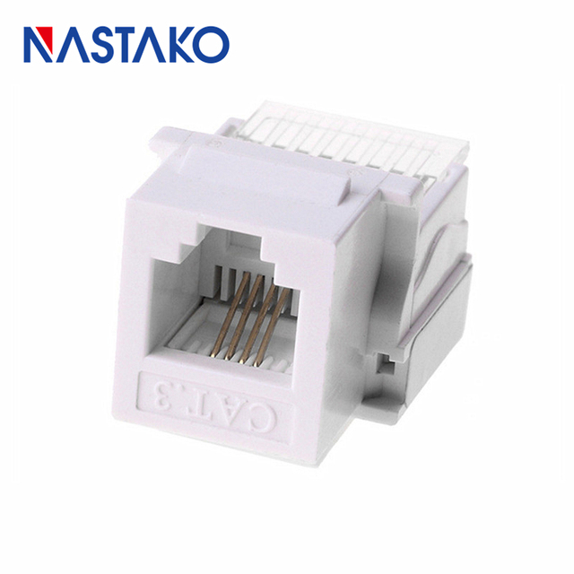 nastako 6p4c cat3 tool-free telephone module keystone rj11 connector 4-wire  cable adapter telecom voice jack information socket