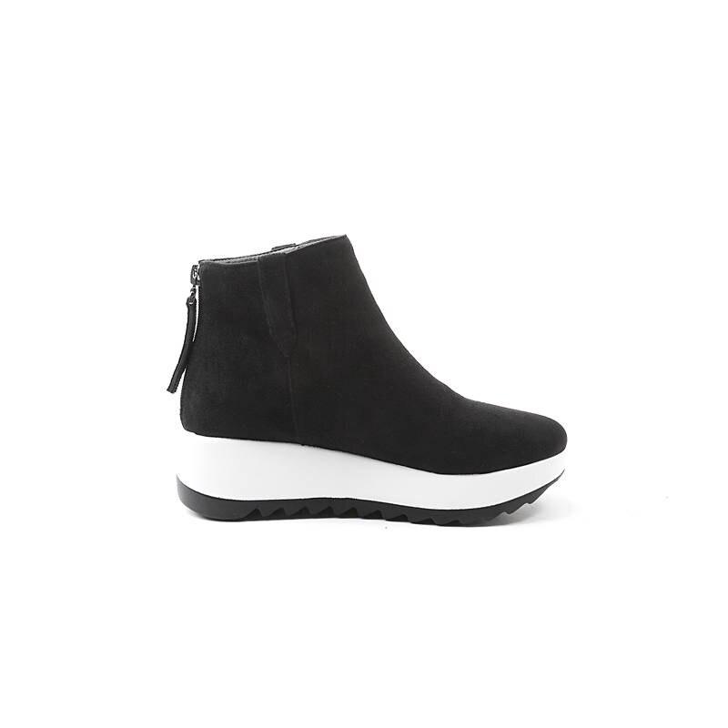 2018 Casual Cheville forme Hiver Femmes apricot Pour Mode Morazora Rond Troupeau Chaude Bout Zipper Vente Chaussures Noir Bottes Plate gris Automne SwZqxAda