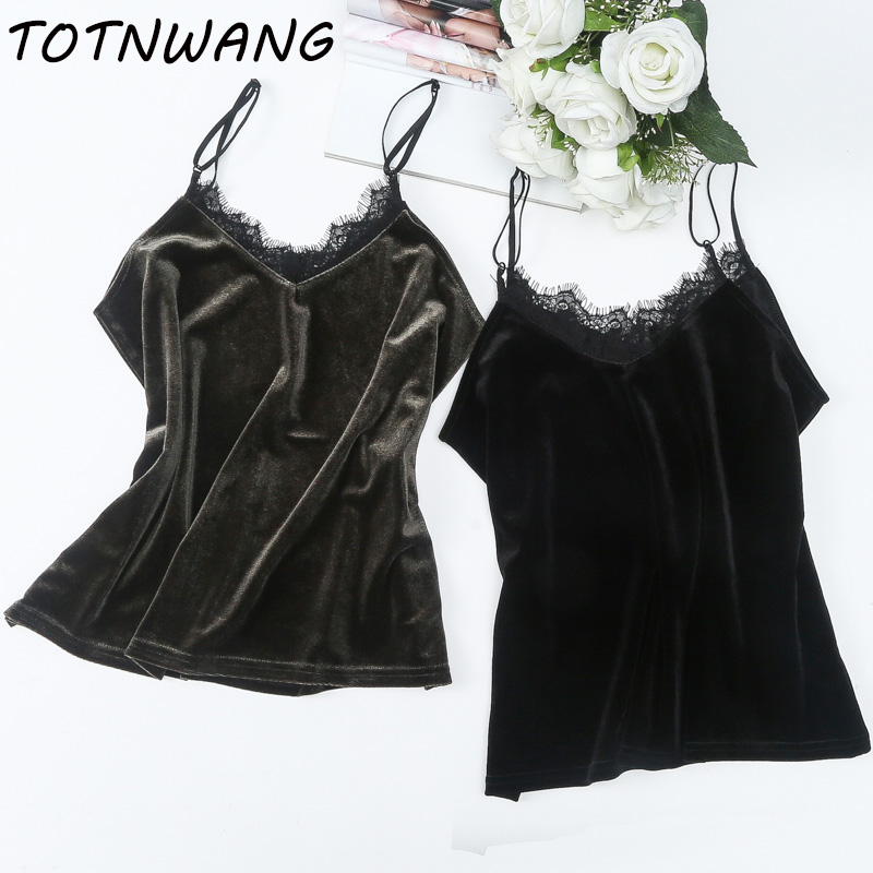 Tank     Top   Women Sexy Lace Sleeveless V Neck Velour Basic   Tops   2018 Blusas Casual Vest Camisole Crop Velvet   Tops   Women CS38