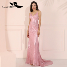 Alagirls Sexy Pink Backless Evening Dress robe de soiree longue 2019 V Neck Gowns Spaghetti Formal Party