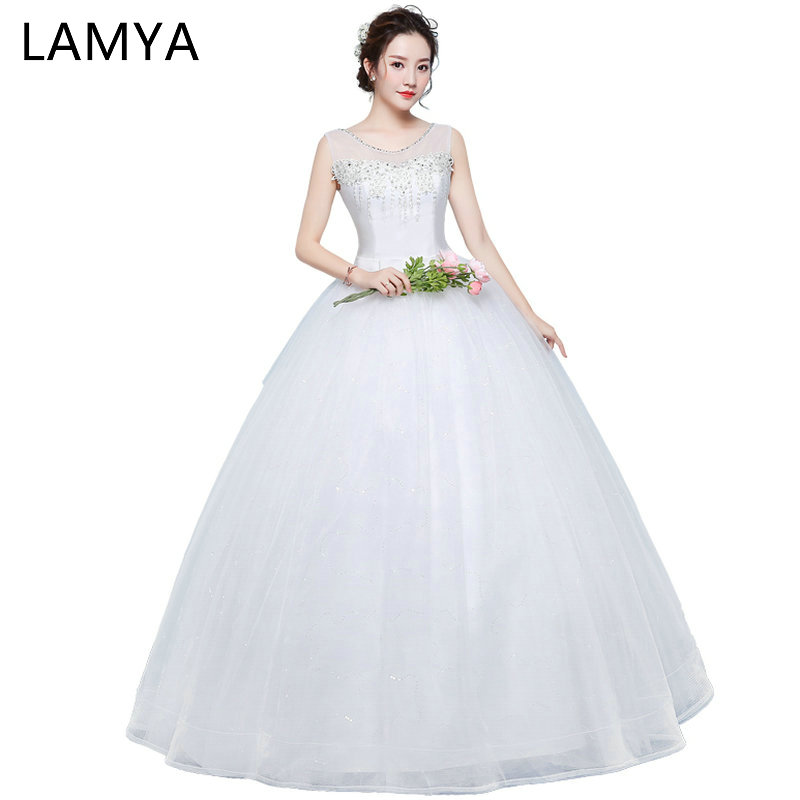 LAMYA Princess Lace Wedding Dresses With Sashes 2019 Women Fashion Ball Gown Bride Gowns Sexy