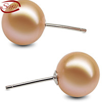 Nice color round natural pearl earring fashion jewelry 925 silver pearl earring for woman