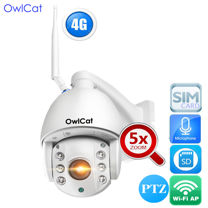 OwlCat HD 1080P 3516c+SONY323 5X Optical Zoom Outdoor PTZ Dome WIFI IP Camera Night Vision Two Way Audio 4G SIM Card SD Card цена