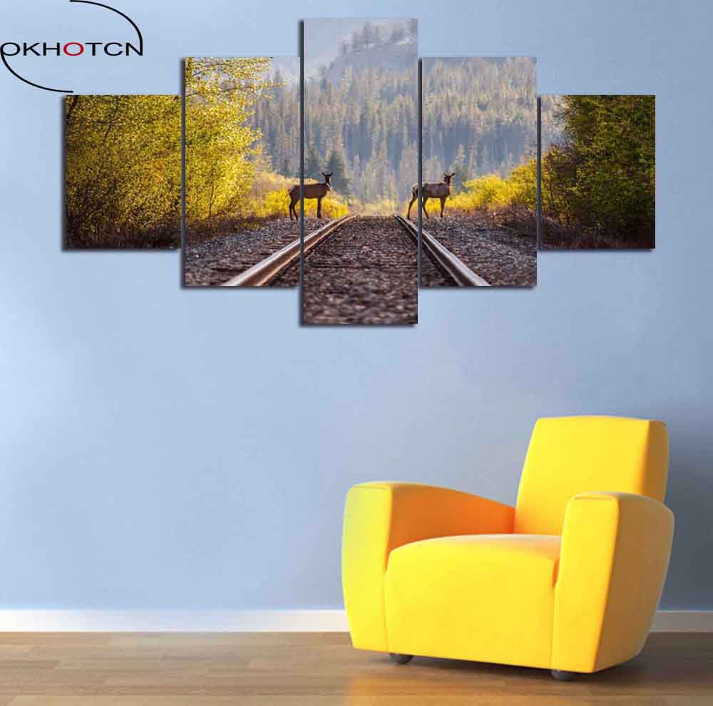 OKHOTCN Framed Animal Deers View HD Printed Canvas Poster Railway &Forest Landscape Painting Modern Home Decor Drop Shipping