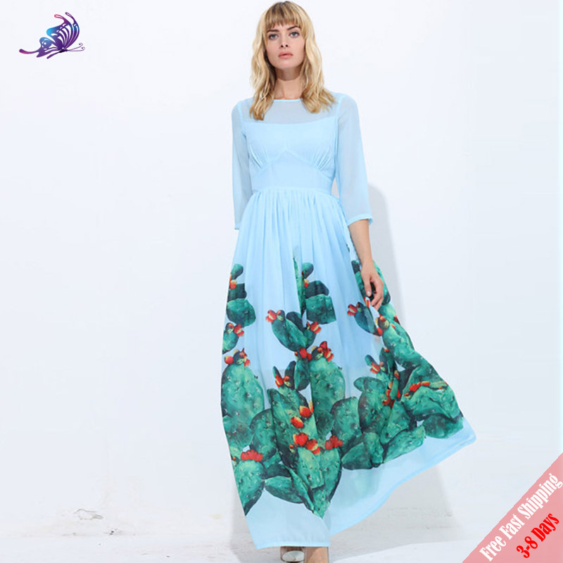351fc33096 Free DHL Fashion Runway Maxi Dress Women's 3/4 Sleeve Casual Cactus Fruit  Green Printed High Quality Chiffon Long Dresses-in Dresses from Women's  Clothing ...