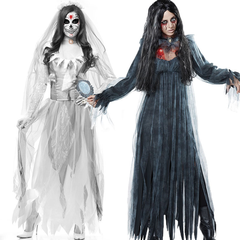 Horror Bride Cosplay For Halloween Adult Cosplay White Black Dress Halloween Costume For Women Girls
