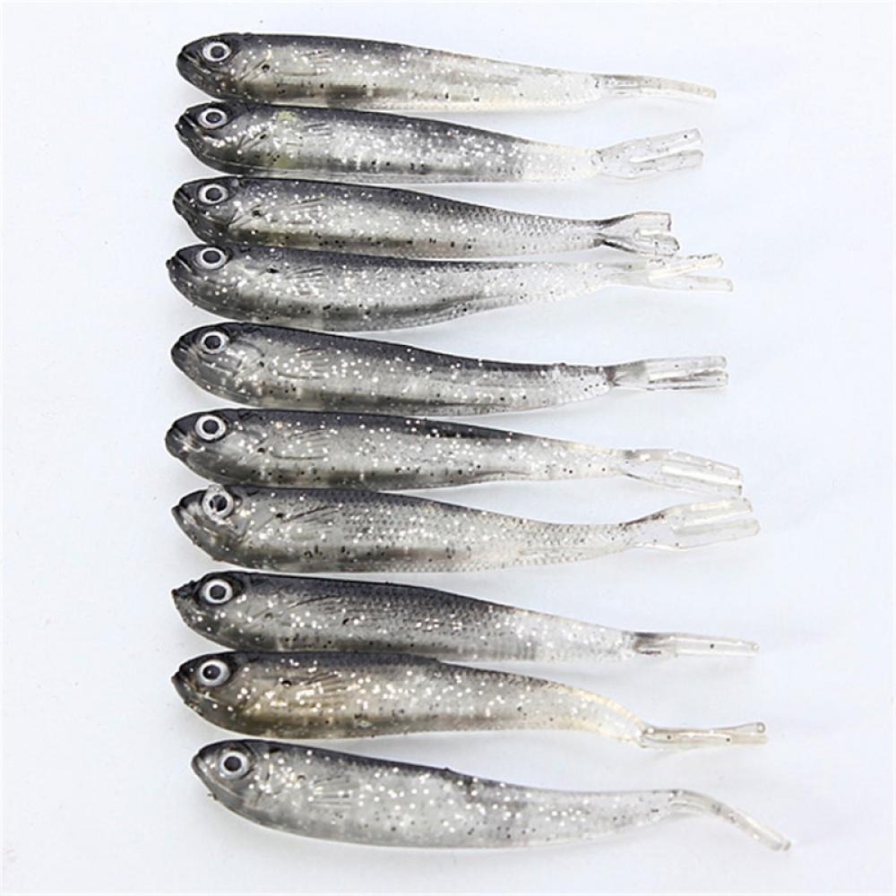 10Pcs Soft Lure Fishing Shad Fishing Worm Swimbaits Jig Head 8.0cm Soft Lure Fly Fishing Bait Fishing Lures