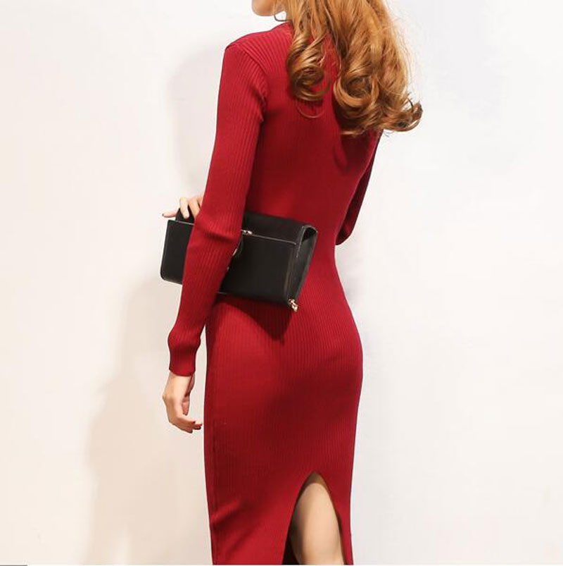 2017 New Arrival Women Autumn Winter Sweater Dresses Fashion O-Neck Solid Slim Long Knitted Dress Sexy Bodycon Robe Dress AE2073 rqueena new arrival double v neck bodycon pencil dress 2017 fashion autumn winter women casual long knitted sweater dress women