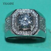 YHAMNI Fashion Original 925 Sterling Silver Rings Men Jewelry Full CZ Zirconia Luxury Engagement Wedding Band