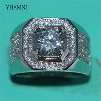 YHAMNI Fashion Original 925 Sterling Silver Rings Men Jewelry Full CZ Zirconia Luxury Engagement Wedding Band