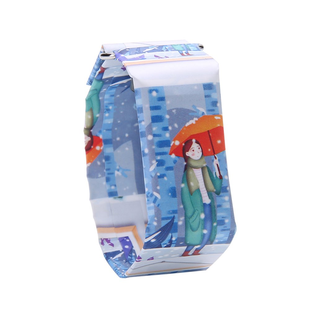 Creative Trend Newspaper White LED Digital Watch Mens Women Waterproof Strap Paper Sport Student Digital Watch Relogio Masculino