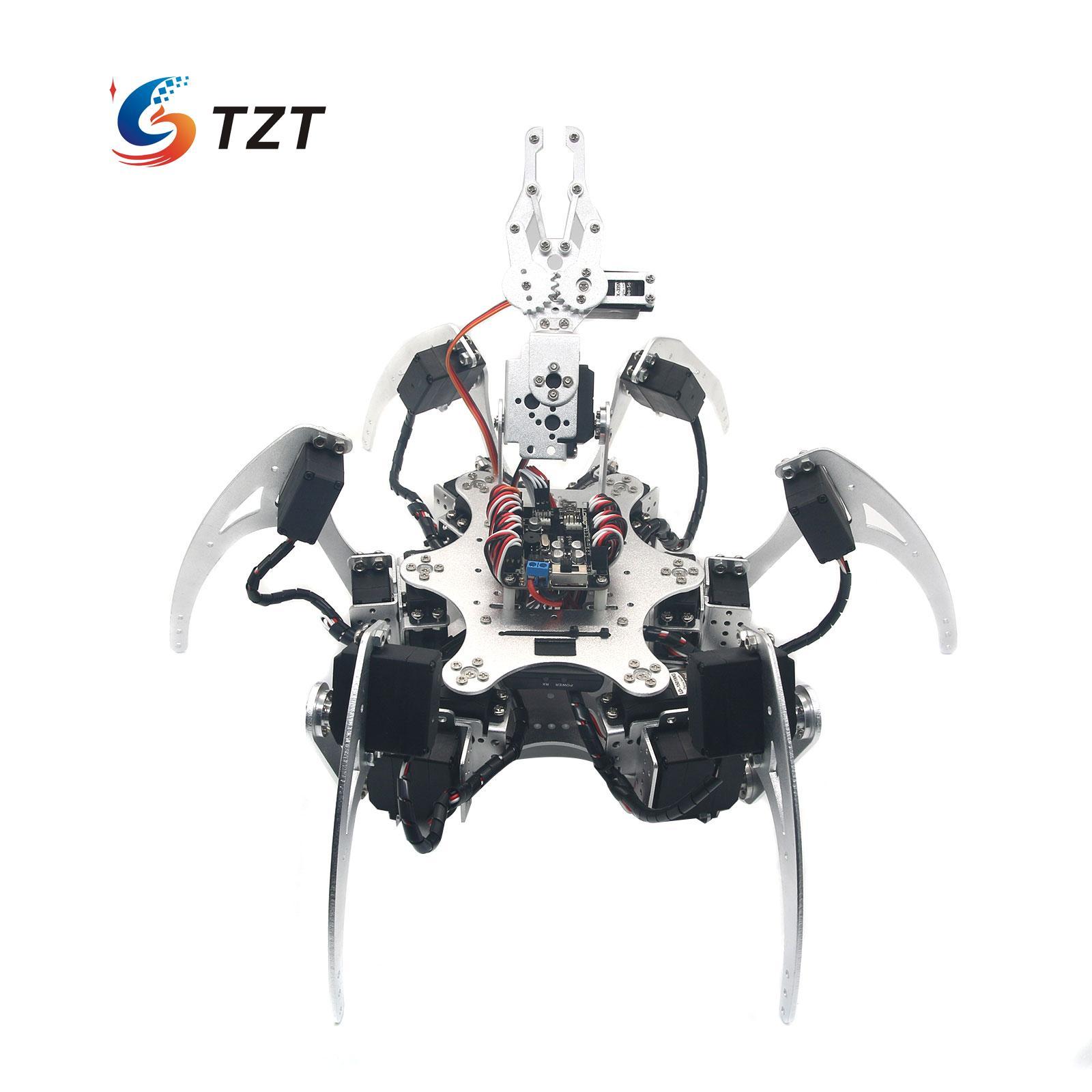 20DOF Aluminium Hexapod Robotic Spider Six Legs Robot Frame Kit Compatible with Arduino Silver 18dof aluminium hexapod spider six legs robot kit w 18pcs mg996r servo
