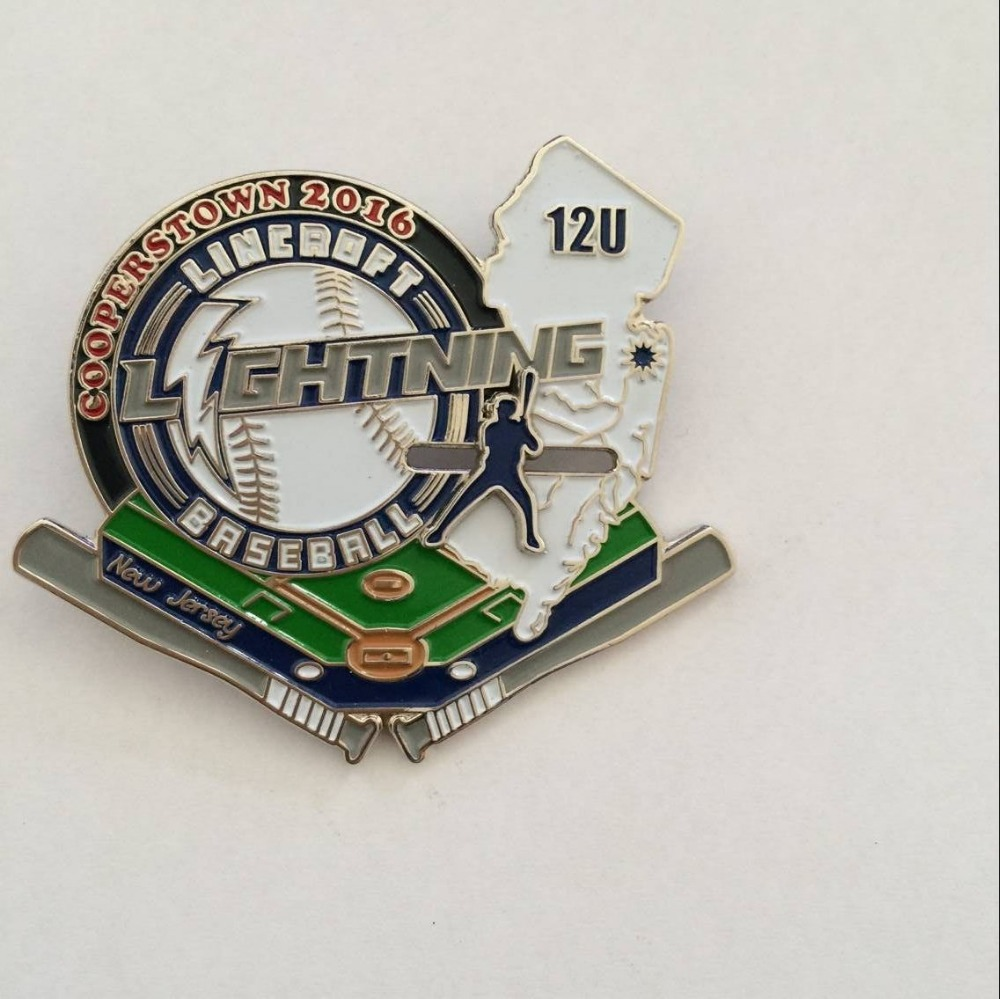 Custom trading pins 2.5 baseball nickel plated lapel pin with slipper and butterfly clutch on backing