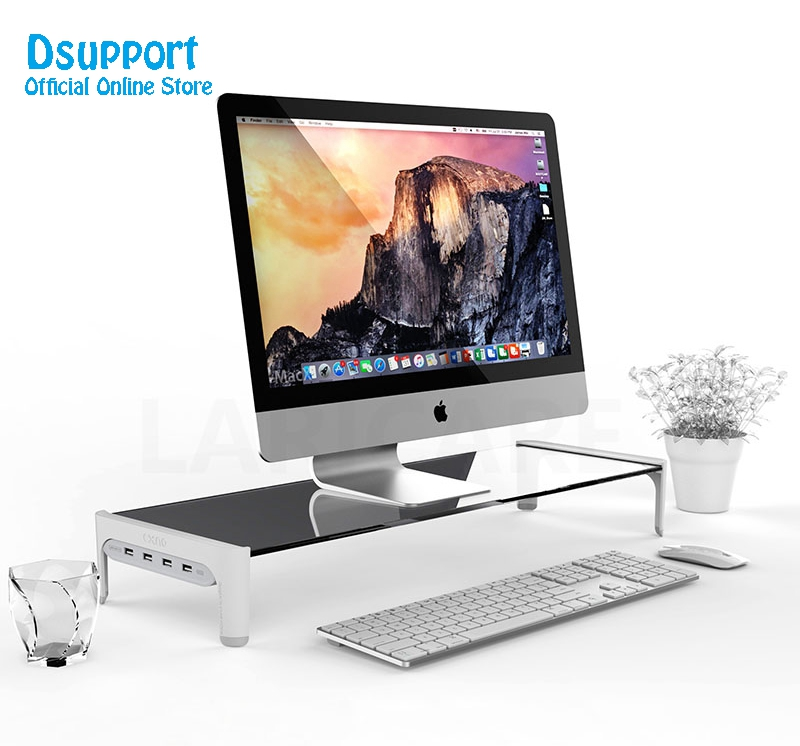 New Desktop Monitor Notebook Laptop Stand Space Bar Non-slip Desk Riser with 4ports USB Hub Data Transmission and Fast Charger