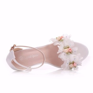 Image 4 - Crystal Queen Sweet white Flower Sexy Dress Wedding Shoes Women Lacing Ankle Strap Peep Toe High Heels Sandals Floral Shoes