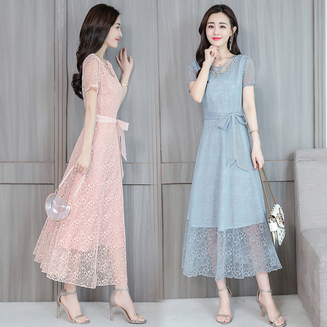 d07bc89a15a 2018 Elegant Women Midi Sundress Pink Party Maxi Dresses Vintage Long  Vestidos Summer Bodycon Black Lace Sexy Dress Plus Size