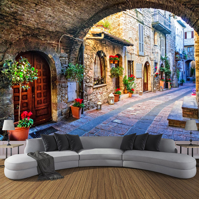 Non-woven Wallpaper Custom Photo Wall Paper Mural 3D Italian Town Street View European Landscape Wall Covering Papel De Parede