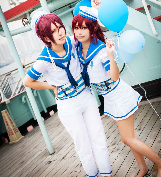 Free! Eternal Summer Rin Matsuoka Sailor Suit School Uniform Outfit Anime Cosplay Costumes free ship gou matsuoka long wine red women style anime cosplay wig one ponytail 370f