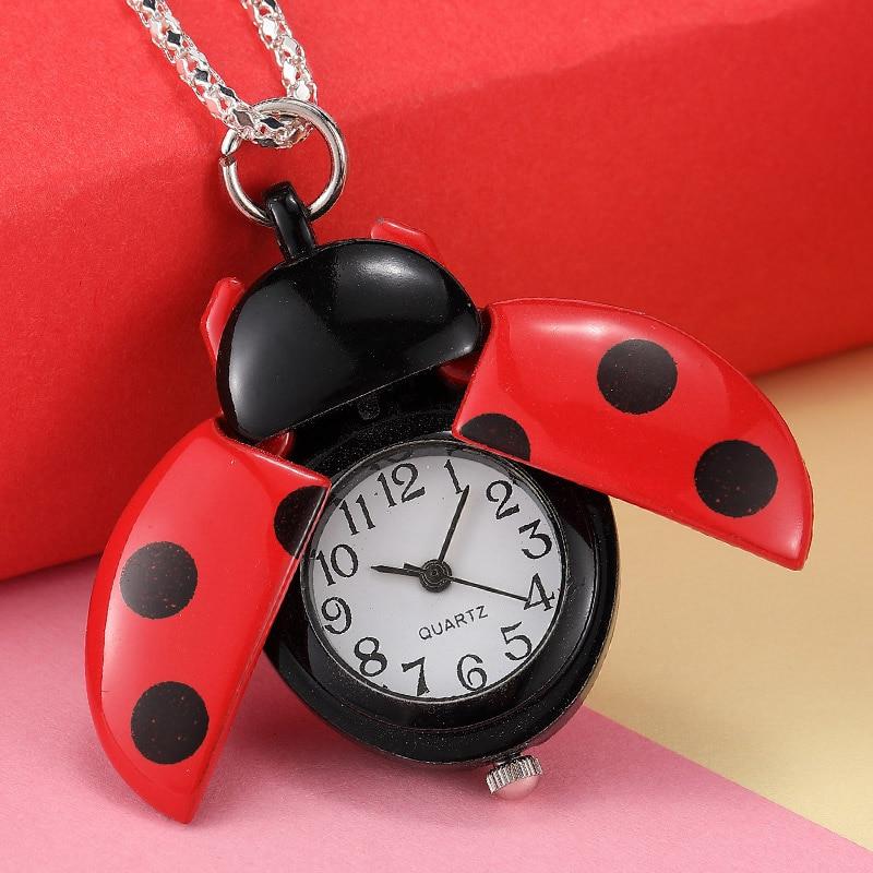 Cute Ladybird Quartz Pocket Watch With Long Chain Gift For Children Boy Girl