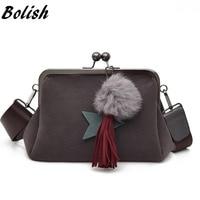 Bolish Women Scrub PU Crossbody Bag Female Fur Ball Dames Tassen Vintage Tassel Shoulder Bag Fashion