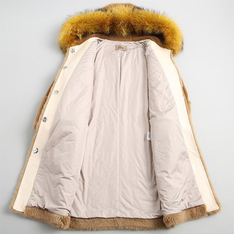 Réel Fourrure Manteau Nouveau Femme Des Capuchon À Laveur Camel Laine Chien 100 Femmes Européen Z818 Veste Hiver D'hiver De Raton 1RdRSgcrq