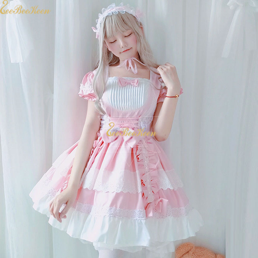 Adult Summer kawaii Lolita Dress Halloween Cosplay Costume Women Maid Sweet Lolita Pink Princess Dress Party clothes For Girls