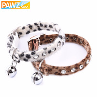 Pet Collar Shiny Rhinestone Dog Collar With Bell Design Leopard Stripe Dot Print Pet Cat Bling