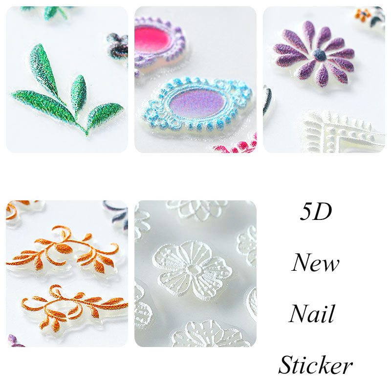 Image 3 - 5D Acrylic Engraved nail art sticker colorful  flowers leaves Template Decals Tool DIY Nail Decoration Tools Z0133-in Stickers & Decals from Beauty & Health