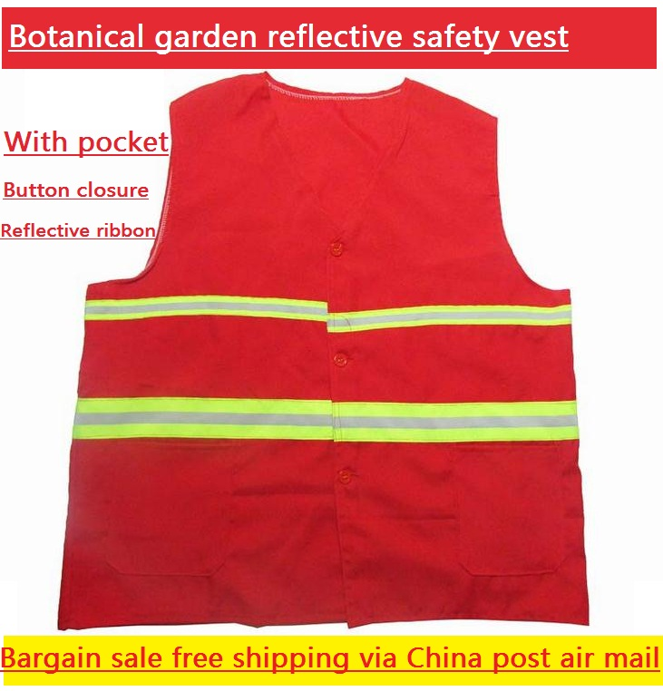 Botanical Garden sanitation reflective safety vest warning clothing red warp knitted fabric fluorescent reflective webbing купить
