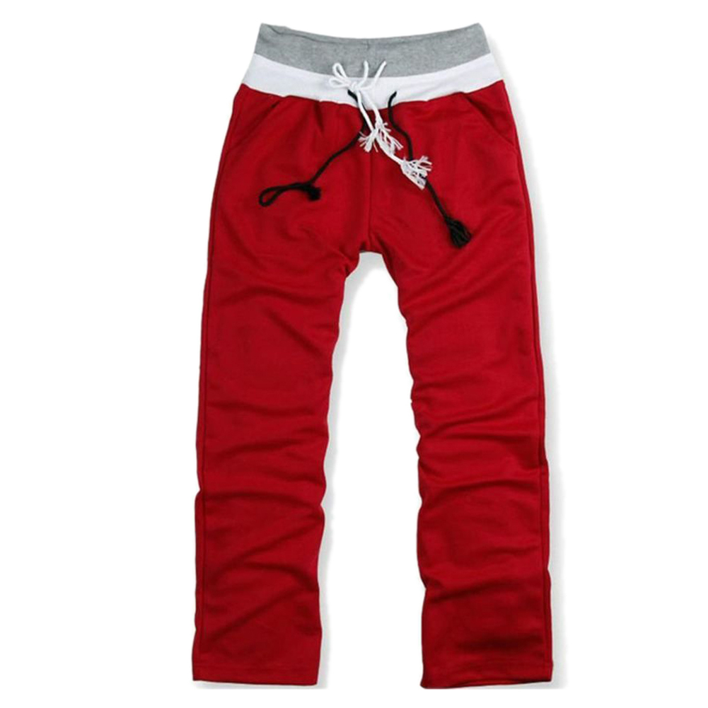 Men Sweat Pants Dance Baggy Jogging Trousers  Red