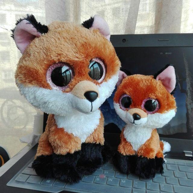 TY BEANIE BOOS 2PCs 15CM and 25CM BIG EYE Slick Fox brown fox Plush Toys  Stuffed 4fd7f9e930e1