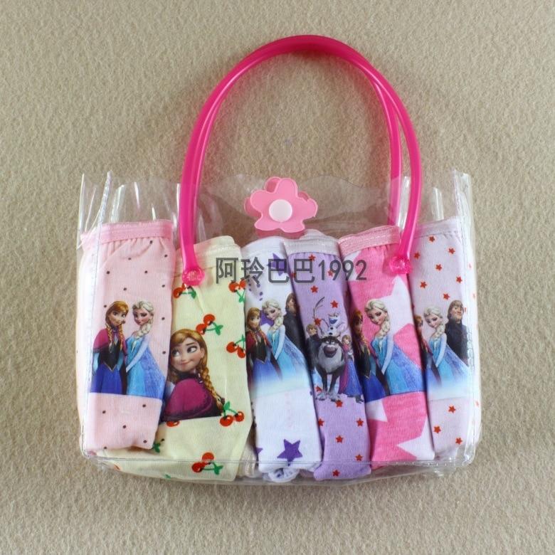 NEW Beautiful Gift Pack Girls Elsa Anna Cartoon Briefs Top Quality Kid Snow Cotton Underwear Mixed Colors Cute Panties 12Pcs/lot