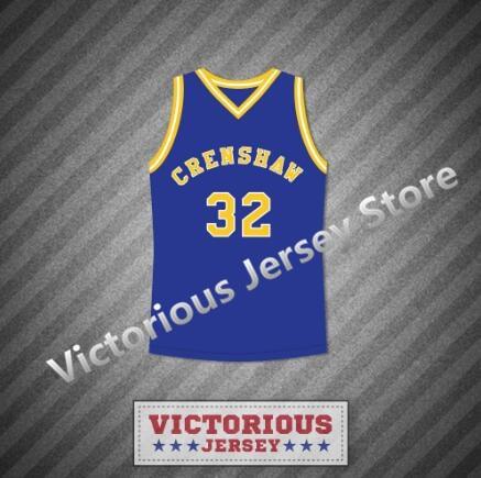Minanser Monica Wright 32 Crenshaw High School Blue Basketball Jersey Men 31c472bf8